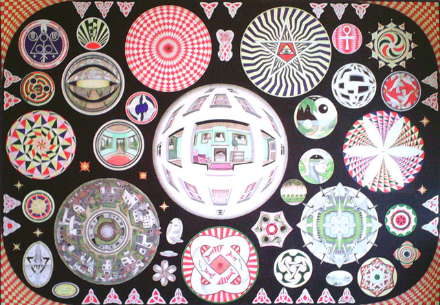 Collection of Circular Patterns by Kelvin Coles. Total Dimensions (Glass Size) 81.5 X 112 cm. Image Size 71.4 X 102 cm allowing for border mount option. This image is produced on High Quality mount board and mixed media (Ink, Graphite and Pencil Crayon) ORIGINAL £400.00 + P&P